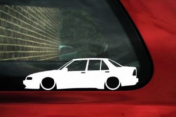 2x LOW Saab 9000 Turbo CD (Sedan, 4 door) Outline stickers / silhouette decals